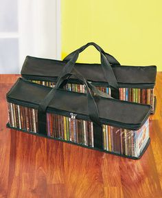 Sets of 2 CD Storage Bags BLACK MEDIA TRAVEL BAGS HOLD APPROX 50 DISC #Unbranded