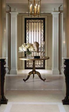 Appropriate Lighting for Entryway: Luxury Entryway Home Foyer Ideas ~ Chandelier. Appropriate Lighting for Entryway: Luxury Entryway Home Foyer Ideas ~ Chandeliers Inspiration Round Foyer Table, Entry Hall Table, Entrance Foyer, Entryway Decor, Entryway Furniture, Hall Tables, Furniture Ideas, Chateau Hotel, Spiegel Design