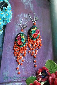 bella isabella - long festive mexican embroidery earrings by jennifermorrisbeads on Etsy https://www.etsy.com/listing/49094509/bella-isabella-long-festive-mexican