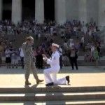 Sailor Proposes to Soldier at the Lincoln Memorial on July 4th, 2011
