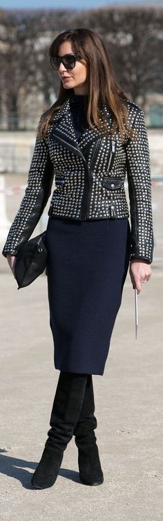 Fall fashion | Studded leather jacket with pencil skirt and high boots