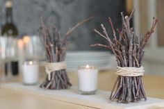 winter table decor: twig bundle and votive (could use the rock salt & led light in votive) Rustic Table Centerpieces, Holiday Centerpieces, Christmas Table Decorations, Stick Decorations, Twigs Decor, Branch Decor, Animation Soiree, Christmas Home, Christmas Crafts