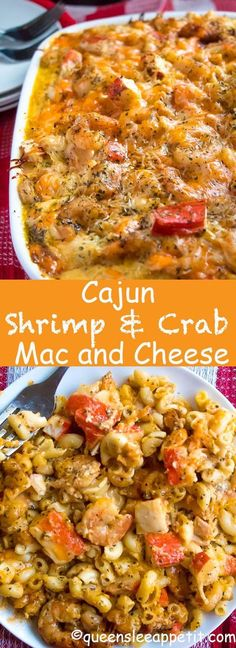 This Cajun Shrimp and Crab Mac and Cheese is super creamy, cheesy and decadent. This delicious spin to the classic dish will surely be your new favourite! I made this mac and cheese for Christmas dinner[. Fish Recipes, Seafood Recipes, Cooking Recipes, Healthy Recipes, Cheese Recipes, Chicken Recipes, Recipies, Cajun Cooking, Cajun Shrimp Recipes