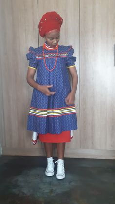by Fatiki designs Pedi Traditional Attire, Sepedi Traditional Dresses, South African Traditional Dresses, African Dresses For Women, African Attire, African Wear, African Fashion Dresses, African Print Shirt, African Print Fashion
