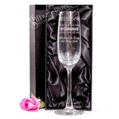 Our high quality engraved champagne wedding glasses make the perfect gift for your bridal party and wedding guests. Also ideal for the bride and groom's first toast as a married couple. Stylish and elegantly designed glass, with professional laser engraving. A unique wedding gift that is sure to be cherished for years to come. Enhance your personalised wedding glass with an optional gift box. #GiftwareDirect #champagne #wedding