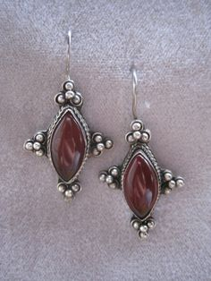 Vintage Sterling Silver Earrings with Carnelian by BALIARTWORKS