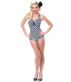 Black & White Striped Dinah One Piece Swimsuit - Unique Vintage - Prom dresses, retro dresses, retro swimsuits.