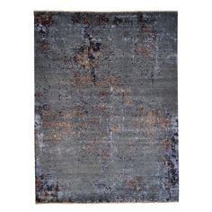 "1800getarug Hand-knotted Modern Oriental Wool/ Silk Rug (9' x 11'10) (Exact Size: 9'0"" x 11'10""), Grey, Size 10' x 12'"