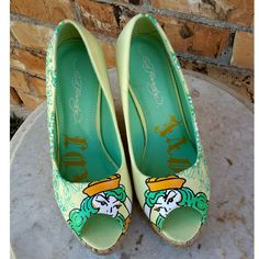 Ed Hardy Designer Open-toe Wedges Pin-up Sailor Shoes Rockabilly Slip-On's  | Clothing, Shoes & Accessories, Women's Shoes, Heels | eBay!