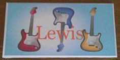Cute guitar door plaque, personalised with your child's name. Handmade by a Conscious Crafty living with neuralgia and bulging discs Bedroom Door Signs, Bedroom Doors, Door Plaques, Wooden Plaques, Personalized Plaques, Childrens Gifts, Kids Bedroom, Crafty, Handmade Gifts
