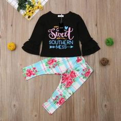 Cute long sleeve with floral pants for your kid perfect for any season. Made with cotton. Fits true to size. Sizes are from up to Back To School Outfits, School Ootd, New Years Outfit, Floral Pants, New Year Gifts, My Black, Fall Outfits, Overalls, Long Sleeve