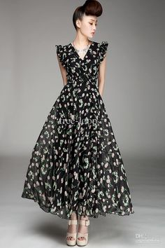 Black Cheery Print V-neck Chiffon Maxi Dress Chiffon Maxi Dress, Floral Maxi Dress, Maxi Dresses, Evening Dresses, Formal Dresses, Print Chiffon, Vintage Dresses, Sexy, Short Sleeve Dresses