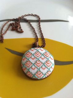 Geometric Cross Stitch Necklace Mint and Orange by DontBeCross, $15.00