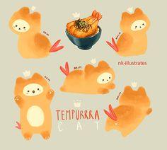 New illustration art cat funny 38 ideas Chat Kawaii, Kawaii Cat, Cute Kawaii Drawings, Cute Animal Drawings, Cream Cat, Cat Drawing, Pretty Art, Food Illustrations, Leprechaun