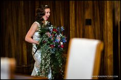 Jess and her huge bouquet from Rebel Rebel, at Stoke Newington Town Hall -