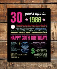 30e anniversaire cadeau 1986 signer 30e anniversaire Poster il ya 30 ans USA événements nés en 1986 numérique imprimer 30e anniversaire cadeau téléchargement immédiat