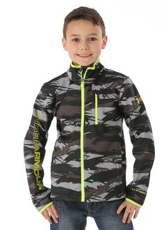 Youth Wearing in Under Armour for the winter | Under Armour Boys Coldgear Infrared Softershell Jacket (Charcoal)