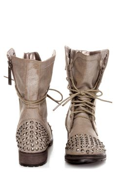 Georgia Ice Taupe Studded Lace-Up Combat Boots - $49.00. IN LOVE WITH THESE!!!! and i like this website too(: