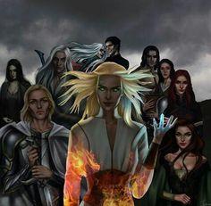 From left to right: Kaltain, Fenrys, Rowan, Manon, Dorian, Aelin, Lorcan, Elide, Asterin, and Lysandra