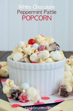 The combo of white chocolate covered popcorn and Peppermint Patties will have you devouring the whole bowl of snack mix!