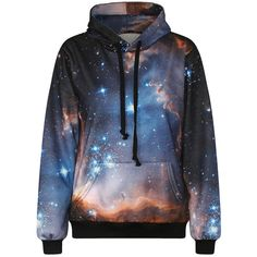 Womens Galaxy 3D Digital Print Punk Style Pullover Hoodie Blue ($19) ❤ liked on Polyvore featuring tops, hoodies, blue, galaxy hoodie, hooded sweatshirt, galaxy hoodies, punk hoodies and blue pullover