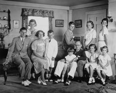 From left to right: Joseph Jr., Eunice, Rose, Bobby, JFK (back), Teddy, Joseph Sr., Kathleen (back), Patricia, Rosemary (back), and Jean.