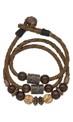 Bracelet with Antiqued Copper Beads, Wood Beads and Bola Cord by Taylor at Fire Mountain Gems and Beads.