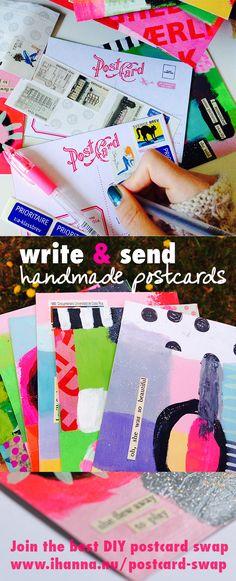 Write and send more handmade postcards - iHanna's swap at www.ihanna.nu/postcard-swap #swapping #writing