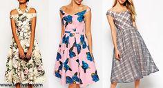 off the shoulder bardot skater dress midi prom dress in floral print or check print organza