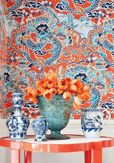How pretty is this? blues and corals are perfect together. From one of our favorite new books! http://lelandswallpaper.com