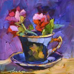 Pictures To Paint, Art Pictures, Teacup Flowers, Tea Cup Art, Modern Art Paintings, Oil Paintings, Sunflower Art, Zen Art, Flower Of Life