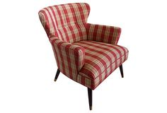 Mid-Century Modern Curved Wingback Chair