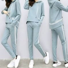 2017 autumn new sportswear suit female tide Korean fashion spring and autumn loose casual sweater two sets patchwork flare Sport Fashion, Fitness Fashion, Teen Fashion, Korean Fashion, Fashion Spring, Sport Style, Sport Chic, Sporty Outfits, Girl Outfits
