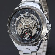 Russian Skeleton Automatic Watches For Men Silver Stainless Steel Wrist Watches