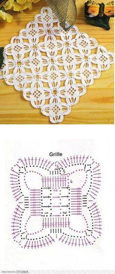 Ciekawy efekt na Stylowi.pl Knit Crochet, Flower Crochet, Thread Crochet, Crochet Granny, Irish Crochet, Crochet Home, Filet Crochet, Crochet Motif Patterns, Crochet Blocks
