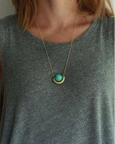 turquoise + brass moon