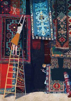 Carpet print, Carpet home decor, Bar decor, Carpet illustration, Carpet art print, Carpets shop