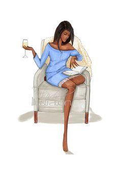 Fashion Illustration Chambray,Chivalry, & Chardonnay by M.Michel Illustration