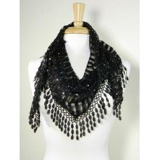 Triangle Sequin Fashion Scarf. Black or White Triangle Striped Scarf with Silver Sequins and Lace Fringe. One Size. Buy 1, get 50% off 2nd jewelry or accessory item from Sensual Surprises jewelry and accessory collection! Use coupon code Jewelry2013 at checkout.