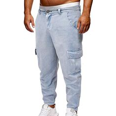 6b3ba4db078b ZHANSANFM Herren Hose Jeans Jogging Sporthose Bermuda Jeanshose Cargo  Stretch Pant Outdoor Taschen Strand Arbeit Hosen