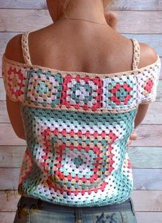 Crochet Summer Lace Top Ethic style Blouse Multicolor Crochet Granny's squares Cotton Top open shoul - Poncho Stricken Débardeurs Au Crochet, Mode Crochet, Crochet Granny, Crochet Summer, Crochet Style, Cotton Crochet, Crochet Toddler, Crochet Afgans, Tunisian Crochet