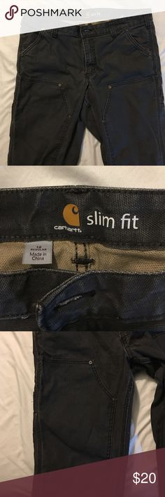 Women's carhartt slim pants Slim carhartts made for women! Awesome outdoors/work pants without all the awkward fitting problems of wearing men's gear. Grey, all the loops and pockets along with reinforced legs. Minimal wear and tear. Carhartt Pants Straight Leg