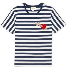 33f1d87d6 Gucci Appliquéd Striped Cotton-Jersey T-Shirt