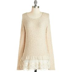 Mid-length Long Sleeve Game of Scones Sweater by ModCloth ($35) ❤ liked on Polyvore featuring tops, sweaters, shirts, lace, apparel, pullover, tan, white long sleeve shirt, crew neck shirt and white lace top