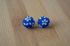 Japanese kimono fabric post earrings  bright blue by sarabamanda