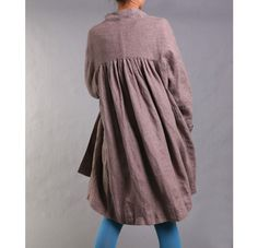 Free Style Pleated Linen Long Jacekt/ Cape/ Heather by Ramies Romantic Outfit, Romantic Clothing, Banded Collar Shirts, Short Dresses, Girls Dresses, Heather Brown, Layering Outfits, Cape Coat, Mori Girl