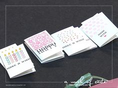 2017 Stampin' Up Occasions Sneak Peek: 8 mini cards to tuck inside the Window Box. Cards were made with the Window Shopping stamps and coordinating Window Box Thinlits Dies.
