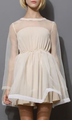 Dreamy Sheer Crepe Panel Dress in Nude
