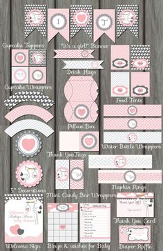 Huge Pink Stork Girl Baby Shower Package por PartyInvitesAndMore