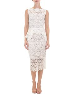 This beautiful Nha Khanh Hana wedding dress is Brand New! Ivory lace with a nude color lining. This elegant mid-calf length lace dress is sleeveless with a bateau neckline, a v-back, and a sheath silhouette. A feminine hand-trimmed lace peplum is just below the waist. Beach Wedding, bridal shower, Cocktail, Courthouse Wedding, Elegant, Elopement, Garden Wedding, Informal, Outdoor Wedding, Rehearsal, Romantic #2020bride #bridetobe